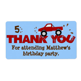 Monster Truck Birthday Party Favor Labels