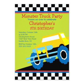 Monster truck Birthday Party for boys Card