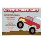 """Monster Truck Birthday Party (Red / Gray Colors) 5"""" X 7"""" Invitation Card"""