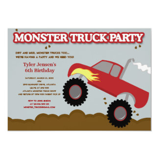 Monster Truck Birthday Party (Red / Gray Colors) Personalized Invitations