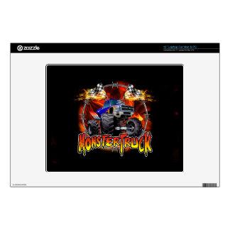 """Monster Truck blue on Fire 12"""" Laptop Skin"""