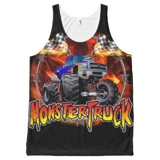 Monster Truck blue on Fire All-Over Print Tank Top