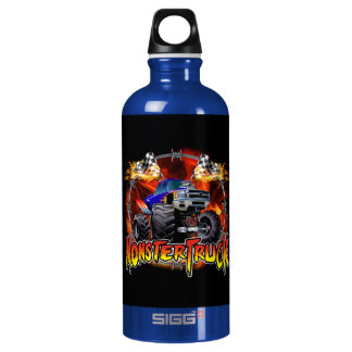Monster Truck blue on Fire Aluminum Water Bottle
