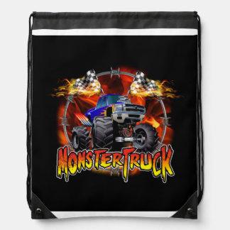 Monster Truck blue on Fire Drawstring Backpack