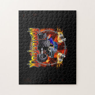 Monster Truck blue on Fire Jigsaw Puzzle
