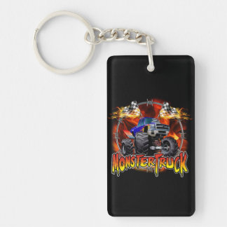 Monster Truck blue on Fire Keychain