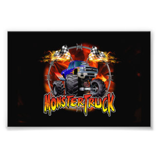 Monster Truck blue on Fire Photo Print