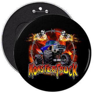 Monster Truck blue on Fire Pinback Button