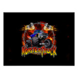 Monster Truck blue on Fire Poster