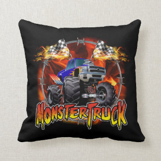Monster Truck blue on Fire Throw Pillow