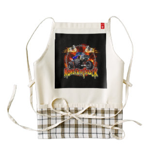 Monster Truck blue on Fire Zazzle HEART Apron