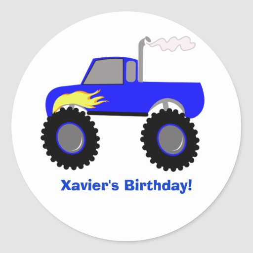 Monster Truck (Blue) Personalized Round Sticker