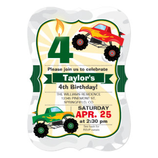 Monster Truck Boy's Birthday Party Card