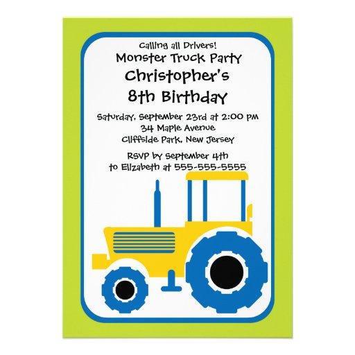 "Monster Truck Boys Birthday Party Invitations 5"" X 7"" Invitation Card | Zazzle"