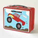 """Monster Truck Boys Red Lunchbox Craft Supply Box<br><div class=""""desc"""">This super cute Monster Truck lunchbox features a red truck with a yellow flame in a thrilling action scene! Mud is flying all over as this truck revs up the mud! This is the perfect lunchbox for any boy who loves trucks. Can also be used for keepsakes, crafts, art supplies,...</div>"""