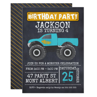 Monster Truck Invitations Announcements Zazzle