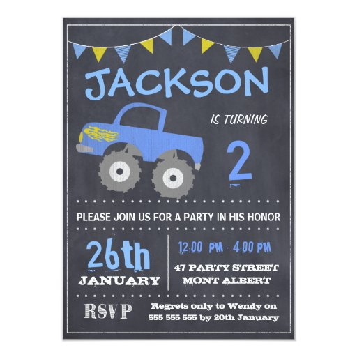 Monster Truck Chalkboard Birthday Invitation