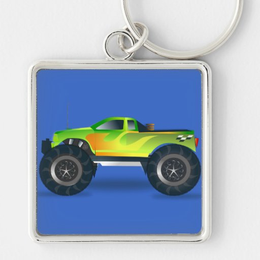 Monster Truck. Cool and colorful modified Pick up Keychains