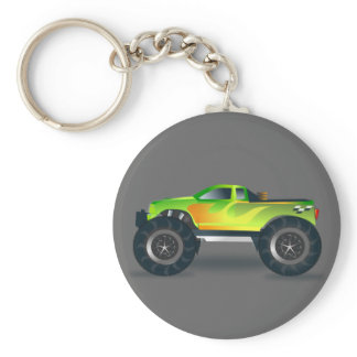 Monster Truck. Cool and colorful modified Pick up Keychain