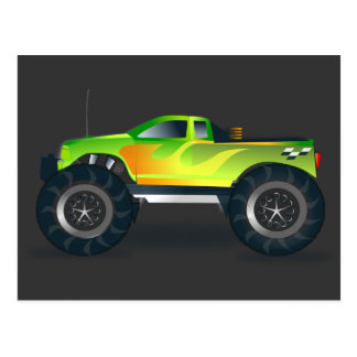 Monster Truck. Cool and colorful modified Pick up Postcard