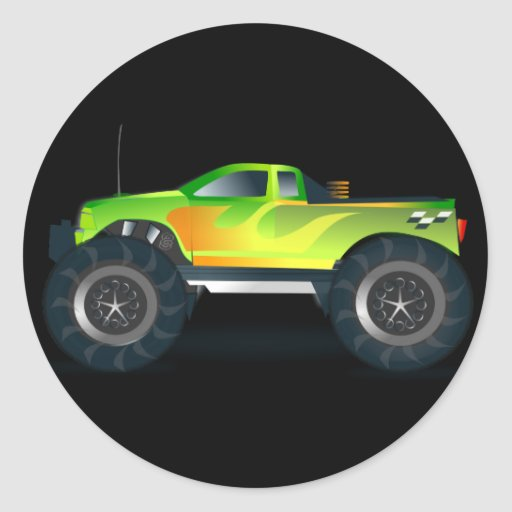 Monster Truck. Cool and colorful modified Pick up Round Stickers