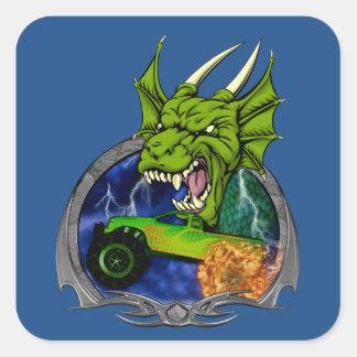 Monster Truck Dragon Square Sticker