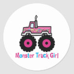 Monster truck etiqueta redonda