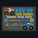 "Monster Truck Joint Birthday Invitation<br><div class=""desc"">All designs are &#169; Happy Panda Print</div>"