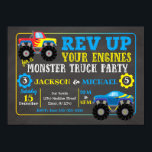 "Monster Truck Joint Birthday Invitation<br><div class=""desc"">All designs are © Happy Panda Print</div>"