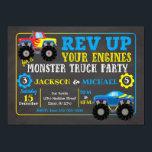 "Monster Truck Joint Birthday Invitation<br><div class=""desc"">All designs are © Happy Panda Print</div>"