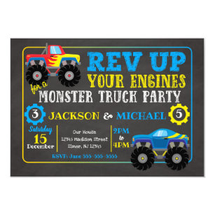 picture regarding Monster Truck Birthday Invitations Free Printable referred to as Monster Truck Joint Birthday Invitation
