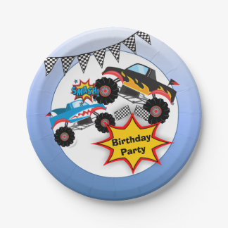 Monster Truck Kids Boy Birthday Party Paper Plate