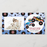"""Monster Truck Kids Boy Thank You Photo Cards<br><div class=""""desc"""">Monster truck in a mid air collision creates the excitement on this fun kids birthday party thank you photo card.  Text is in black &amp; red and is fully customizable.</div>"""