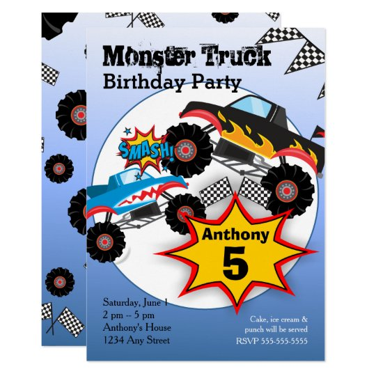 monster truck kids boys birthday party invitation zazzle com