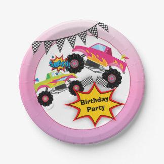 Monster Truck Kids Girl Birthday Party Paper Plate
