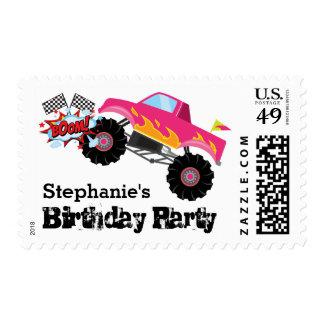 Monster Truck Kids Girl Birthday Party Stamp