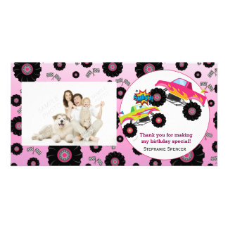 Monster Truck Kids Girl Thank You Photo Cards