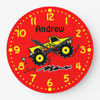 Monster Truck Lovers Personalized Boys Room Clock