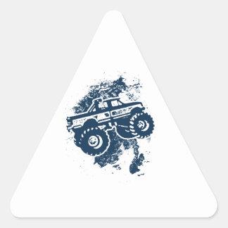 Monster truck pegatina triangular