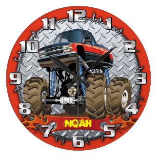Monster Truck Personalizable Boys Room Clock