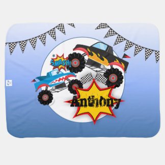 Monster Truck Personalized Baby Blanket