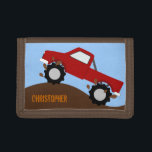 """Monster Truck Personalized Wallet<br><div class=""""desc"""">A fun way to spend money! This monster truck wallet is a great gift for any child at heart.  Original vector art by Night Owl&#39;s Menagerie,  c. 2013.</div>"""