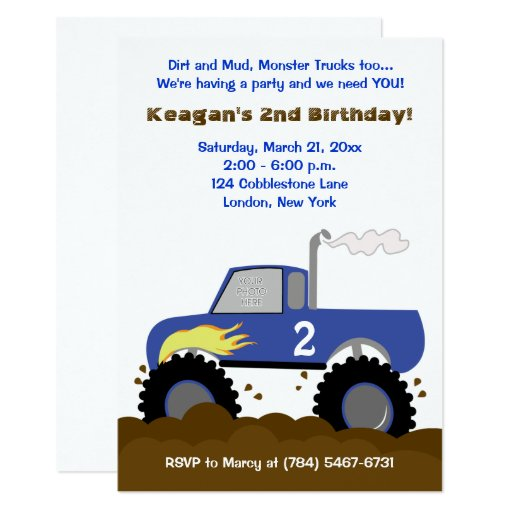 Monster Truck Photo Birthday Invitation (Blue)