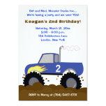 "Monster Truck Photo Birthday Invitation (Blue) 5"" X 7"" Invitation Card"