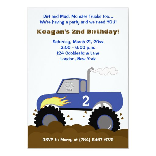 Monster Truck Photo Birthday Invitation (Blue)