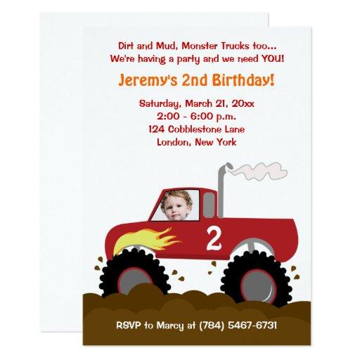 Monster Truck Photo Birthday Invitation (Red)