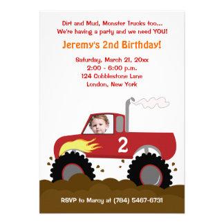 Monster Truck Photo Birthday Invitation Red