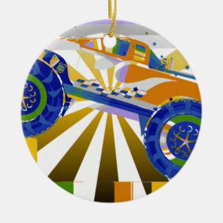 Monster truck psicodélico impresionante adorno navideño redondo de cerámica