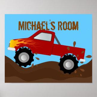 Monster truck rojo fangoso personalizado posters