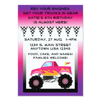 """Monster truck rosado y púrpura 5"""" x 7"""" invitación 5"""" x 7"""""""